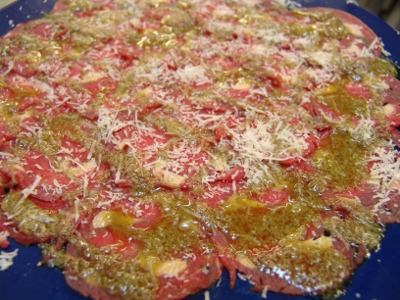 Carpaccio with foie